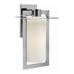 """Hinkley - Contemporary Hinkley Colfax 19 1/4"""" High Steel Outdoor Wall Light - This chic large-size geometric outdoor wall light features intersecting planes of solid aluminum in a sleek polished stainless steel finish. An inviting etched opal glass cylinder diffuses the glow from a single bulb and enhances the handsome look. Attaches to the wall with a matching rectangular back plate. A beautiful fixture from Hinkley outdoor lighting. Sleek large outdoor wall light. Polished stainless steel finish. Solid stainless steel construction. Etched opal glass cylinder. Includes one 100 watt bulb. 9 1/2"""" wide. 19 1/4"""" high.   Sleek large outdoor wall light.  Polished stainless steel finish.  Solid stainless steel construction.  Etched opal glass cylinder.  Includes one 100 watt bulb.  9 1/2"""" wide.  19 1/4"""" high."""