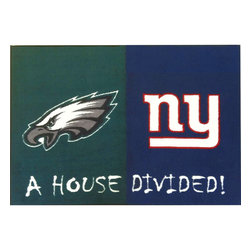 Fanmats - NFL Eagles-Giants House Divided Accent Rug - Features: