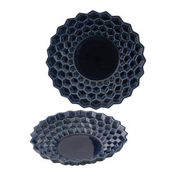 Selectives - Savi Decorative Bowls, Set of 2 - These decorative shallow and blue with dimensional design bowls have unique textures, one of a kind pieces which creates a dramatic effect in your home décor.