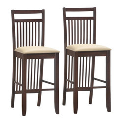 Leick Furniture - Leick Furniture Wood Slat Back Bar Stool in a Dark Walnut (Set of 2) - Leick Furniture - Bar Stools - 10081WG/CR - A deep wenge wood finish on slatted design elements offers a visual treat and on these sturdy bar stools.  Constructed of solid hardwood with a crowned seat padded for comfort and upholstered in Cream Faux leather.