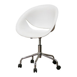 Justina White Molded Plastic Modern Swivel Office Chair - Sit pretty, and straight, while doing homework in this mod desk chair.
