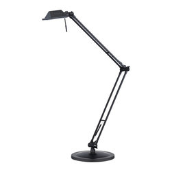 "Lamps Plus - Contemporary Architects Halogen Desk Lamp - Hi-tech contemporary styling and a slim profile make this architect's lamp the perfect desk accessory. Classic twin-arm design swivels and adjusts into a variety of positions. Sleek black matte finish with adjustable shade head. Comes with one 50 watt low voltage halogen bulb. Extendable to 35"" high.  Matte black finish.  Adjustable arm and head.  Includes one 50 watt halogen bulb.  Full range cord dimmer.  Adjustable to 35"" high.  8"" diameter footprint."