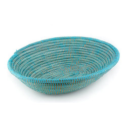 Handmade Turquoise Serving Baskets - Turquoise handmade Oval Serving Baskets