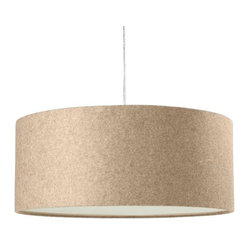 Short Drum Pendant, Natural Linen