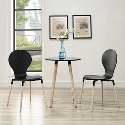 Path Dining Chairs and Table Set of 3 in Black (EEI-1370-BLK) - Find your center of balance in the circular path of life. Path's simple fluid lines subtly generate a powerful statement. Sit down, breathe deeply on the fiberboard frame and solid beech wood legs, and let the conversations and ideas begin to flow. Set Includes: One - Path Circular Side Table Two - Path Dining Chairs