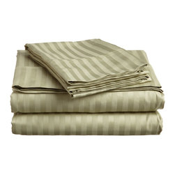 600 Thread Count - Egyptian Cotton Striped Sheet Set by ExceptionalSheets - Experience affordable luxury with our  100-percent Egyptian Cotton sheet sets. These sheets are comfortable and perfect for everyday use while providing you a little bit of heaven when you get into your bed at night. The one-ply sheets have a sateen weave and the fitted sheet is fully elasticized.These sheets sets include: