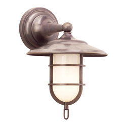 """Hudson Valley - Country - Cottage Rockford Wet Location 12 1/2"""" High Old Bronze Bath Sconce - The transitional styling and solid brass construction of this sconce make it an easy fit with most interiors. Old bronze finish. Solid brass construction. UL listed for wet locations. Takes one 100 watt bulb (not included). 12 1/2"""" high. 9"""" wide.  Old bronze finish.    White opal glass.   Solid brass construction.   UL listed for wet locations.   Takes one 100 watt bulb (not included).   12 1/2"""" high.   9"""" wide.  Extends 10 3/4"""" from the wall.   Backplate 5 1/2"""" diameter."""