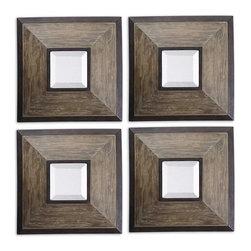 Uttermost - Uttermost 13817 Fendrel Squares Wood Mirror Set of 4 - Uttermost 13817 Fendrel Squares Wood Mirror Set of 4
