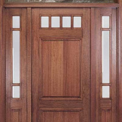 Craftsman wood door with transom - Craftsman front door featuring a custom textured glass transom with house number.  May be purchased as a single door with or without sidelights.  Distinct and unique this mahogany entry door compliments a varied array of home styles