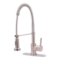 Kingston Brass - Concord Single Handle Pull-Down Spray Kitchen Faucet, Satin Nickel - The Concord pull-down faucet features a gooseneck-shaped spout which hangs over the sink built for easy washing. The long coil covering part of the sprayer is connected to the neckpiece for support. The satin nickel finish adds long-lasting protection as well as a sleek flashy-looking decor for your kitchen.
