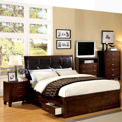 Furniture of America - Furniture of America Ricarde Brown Cherry Leatherette Headboard Storage Platform - Embrace the convenience of modern design with this wonderfully functional storage platform bed. The all-over brown cherry finish frames the espresso leatherette headboard snugly while the design ensures you have plenty of storage space for small items.
