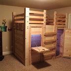 The Bed Fort Opened Up - Built From Queen Loft Bed Plans - Get simple DIY plans to build your own Bed Fort for $25 or, if you're in the Charleston, SC area, I can build it for you!! http://palmettobunkbeds.com