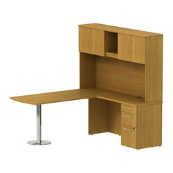 "Bush - Bush 300 Series 72"" L-Shape Peninsula Desk with Hutch in Modern Cherry - Bush - Commercial Grade Office - 300S065MC - Sleek lines and ultimate placement versatility is what defines the Bush Modern Cherry 300 Series 72""W x 30""D Bullet Peninsula Desk with 42""W Return and Tall Overhead. Desk's narrow profile offers roomy workspace yet fits in the tightest places. Three B/B/F drawers keep necessary papers, documents or office supplies at your fingertips. File drawer, on full-extension ball bearing slides, accommodates letter- legal or A4-size files. The 42"" Return is supported by a stylish brushed aluminum leg and base so you can stretch out comfortably. Tall Overhead Hutch helps keep desk areas clear and has an open center section for large books or oversize manuals. Height matches other 300 Series hutches for side-by-side configurations. Two enclosed compartments hold supplies, electronics or personal items."