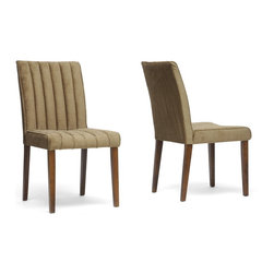 """Wholesale Interiors - Stripp Brown Microfiber Modern Dining Chairs, Set of 2 - Casual elegance is what our Stripp Modern Dining Chair is all about. You will love the brown ribbed microfiber seat, which is padded with foam and is both stain resistant and fire retardant. A dependable rubber wood frame includes matching brown legs with non-marking feet. This Malaysian-made designer dining chair requires assembly and should be spot cleaned. A black version of this chair is also available (sold separately). Dimension: 19""""W x 24""""D x 36""""H, seat : 19""""W x 18""""D x 18.75""""H."""