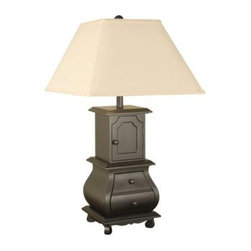 Unbranded - Black Bed Side Lamps: 30.5 in. Black Bombe Chest Table Lamp with Shade 03T540 - Shop for Lighting & Fans at The Home Depot. Unique black biome chest table lamp with shade sits atop 4 solid feet for extra stability. Made of resin, this lamp will with stand the test of time and only needs to be dusted with a cloth. Three way sockets included.