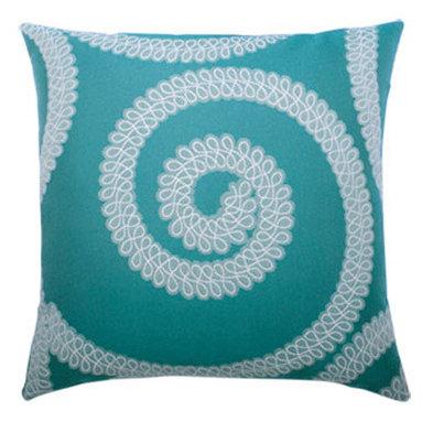 """New Elaine Smith Pillows - Kaleidoscope Spiral Aqua - 20"""" x 20"""" Elaine Smith Pillows"""