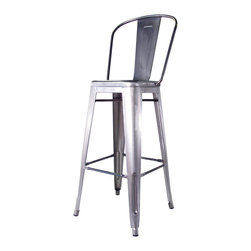 Kathy Kuo Home - Bouchon French Industrial Steel With Back Cafe Bar Stool - Set of 4 - Pull up a seat at the counter and enjoy the utility and style of a classic piece of industrial metal seating. Constructed of glossy steel, this piece captures the utility and flexible use that makes loft style so smart.  Used indoors or out, this iconic bar stool just keeps on working.