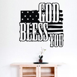 ColorfulHall Co., LTD - Removable Wall Decals DIY God Bless You with American Flag - Removable Wall Decals DIY God Bless You with American Flag