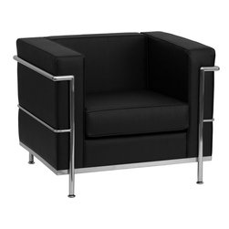 Flash Furniture - Le Corbusier Style Regal Series Contemporary Black Leather Chair with Encasing F - This attractive black leather reception chair will complete your upscale reception area. The design of this chair allows it to adapt in a multitude of environments with its smooth upholstered cushions and visible accent stainless steel frame.