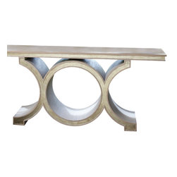 Link Console - Grey/Silver Leaf - Three linked circles have a proportionate, yet boldly-scaled appearance as the base of the Link Console. Made with a fine American oak veneer washed in sophisticated, grain-enhancing grey and highlighted with silver leaf, this august surface is a perfect piece of grandeur for the entryway or a refined addition to the wall of a living space or bedroom.