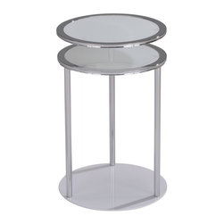 None - Infinity Chrome/ Round Glass Swivel Accent Table - Add a sleek and modern element to your home with the Infinity round accent table. Available in black or white,this chic table is sure to fit beautifully with your existing home decor scheme.