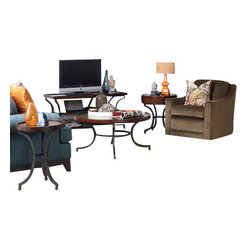 Hammary - Hammary Barrow 5-Piece Round Coffee Table Set with Mahogany Top and Metal Base - 5-Piece Round Coffee Table Set with Mahogany Top and Metal Base Belongs to Barrow Collection by Hammary