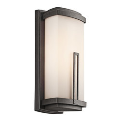 BUILDER - BUILDER Leeds Soft Contemporary/Casual Lifestyle Fluorescent Outdoor Wall Sconce - This Kichler Lighting outdoor wall sconce blends clean, modern lines and angles for a unique and stylish look. From the Leeds Collection, it features an Anvil Iron finish and soft toned satin etched cased opal glass shade that pulls the look together. Meets Energy Star, Title 24 and Dark Sky requirements. Rated for wet locations.
