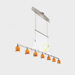 Low-Voltage Halogen Chandelier No. 5517/7 - The height of this low-voltage pendant is easily adjusted with the hand-polished counter-weight. Seven 20-Watt Halostar bulbs by Osram and hand-blown glass provide soft, even lighting. This fixture utilizes an electronic, line-voltage (120 V input) to low-voltage (12 V output) transformer by Lightech. If you are planning to use a dimmer with this fixture, we recommend using a Lutron ELV (electronic low-voltage) style dimmer. Includes a 175-Watt transformer, allowing for a 20-Watt maximum per bulb. Design and utilities patent pending.