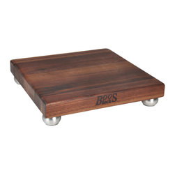 John Boos - John Boos Square Walnut Cutting Board with Steel Bun Feet - Handsome, elevated, walnut cutting and serving board. Two sizes: 9 or 12 inch squares. 1-1/2 in. diameter stainless steel bun feet. WAL-9SS, WAL-12SS