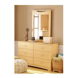 South Shore - 6 Drawer Dresser w Mirror in Natural Maple Fi - Timeless and elegant, this contemporary dresser and mirror set will be an inspired addition to any decor. Finished in natural maple, the set features clean lines and a whisper of global inspired style for exotic charm. Constructed of wood, the set includes a rectangular mirror and a six-drawer dresser with arched metal drawer pulls. Manufactured from eco-friendly, EPP-compliant laminated particle boardcarrying the Forest Stewardship Council (FSC) certification. 6 Drawers. Ample storage space. Assembly Required. Dresser: 16 in. W x 52 in. D x 32 in. H. Mirror: 30 in. W x 41 in. H