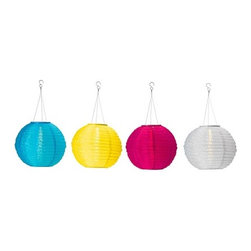 Solvinden Solar-powered Pendant Lamp, Globe, Assorted Colors - These fun globe lanterns are not only great for adding color, they're energy efficient as well. Solar powered and battery operated, these globes illuminate naturally by converting sunlight to energy.