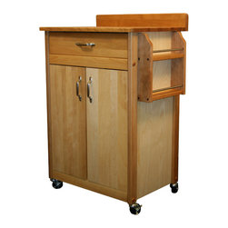 Catskill Craftsmen - Catskill Butcher Block Cart with Backsplash and Spice Rack - Compact cart with butcher block cutting surface and backsplash for easy cleanup. Handy spice rack, drawer, and cabinet storage. Locking caster wheels. 51524.