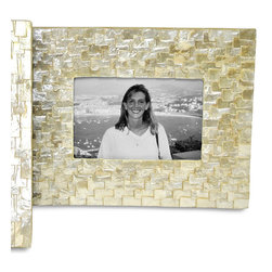 Capiz Frame - 5 x 7 - Stunning pearlized reclaimed Capiz reflect the light beautifully while encapsulating your most treasured memories. Ideal for a thoughtful bridal shower or weeding gift, the delightful, gleaming white lends itself to a wonderful transitional look that is both natural and versatile.