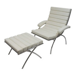 Fine Mod Imports - Modern Classic White Leather Chair and Ottoman - Features: