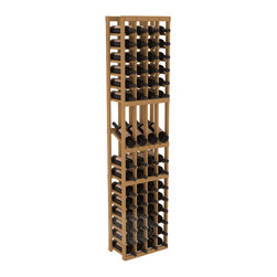 4 Column Display Row Cellar Kit in Pine with Oak Stain - Make your best vintage the focal point of your wine cellar. Four of your best bottles are presented at 30° angles on a high-reveal display. Our wine cellar kits are constructed to industry-leading standards. You'll be satisfied with the quality. We guarantee it.