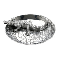 Arthur Court - Alligator Chip and Dip - Invite this aluminum alligator to your next party. Then fill with your favorite chips and dip — and watch the conversations spark.