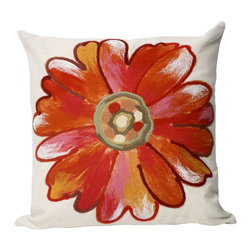 """Trans-Ocean Inc - Daisy Orange 20"""" Square Indoor Outdoor Pillow - The highly detailed painterly effect is achieved by Liora Mannes patented Lamontage process which combines hand crafted art with cutting edge technology. These pillows are made with 100% polyester microfiber for an extra soft hand, and a 100% Polyester Insert. Liora Manne's pillows are suitable for Indoors or Outdoors, are antimicrobial, have a removable cover with a zipper closure for easy-care, and are handwashable.; Material: 100% Polyester; Primary Color: Orange;  Secondary Colors: orange, pink, white; Pattern: Daisy; Dimensions: 20 inches length x 20 inches width; Construction: Hand Made; Care Instructions: Hand wash with mild detergent. Air dry flat. Do not use a hard bristle brush."""