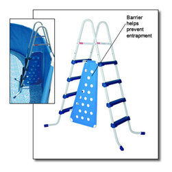 Blue Wave - Blue Wave 52 Inch A-Frame Ladder Blue Steps - 52 A-Frame Ladder With Barrier, Style Pools Sturdy, Light Weight Steel Frame Four Surestep�� Plastic Steps For Maximum Safety Easy Installation, Maintenance And Storage Complies With New USA Astm And Ansi/Apsp-4 Regulations For Use With Tubular Steel Frame Pools