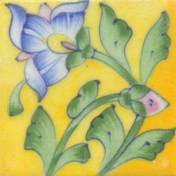 """Knobco - Tiles 3x3"""", Blue & Yellow Flower & Lime Green leaf w/ Yellow Base - Blue and Yellow Flower and Lime Green leaf with Yellow Base Tiles from Jaipur, India. Unique, hand painted tiles for your kitchen or other tiling project. Tile is 3x3"""" in size."""