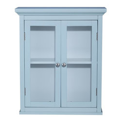 Elegant Home Fashions - Hampton Wall Cabinet with 2 Doors - The Hampton Wall Cabinet from Elegant Home Fashions in an eton blue finish features an elegant crown molded top with two doors  that offers storage with style for your bathroom.  It is also very functional with one adjustable interior shelf.  It also features chrome finished knobs for easy opening.  This cabinet comes with assembly hardware.
