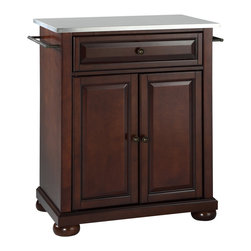Crosley - Alexandria Stainless Steel Top Portable Kitchen Island - Dimensions:  18 x 28.2 x 36 inches