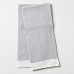 """Coyuchi - Coyuchi Diamond Chambray Pewter Kitchen Towel Set of 2 - The Coyuchi chambray kitchen towel set's organic cotton fabric complements interiors with earthy allure. Featuring diamond texture and white trim, these absorbent accessories excite in pewter gray. 16""""W x 24""""H; Set of two; 100% organic cotton; Due to handmade quality, slight variations in fabric may occur; Machine washable"""