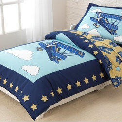 KidKraft - KidKraft Airplane Toddler Bedding - 77010 - Shop for Bedding Sets from Hayneedle.com! Up up and away! Conquer the skies each night with KidKraft Airplane Toddler Bedding. Soft microfiber cocoons your little one in comfort. This set includes a reversible comforter pillow case flat sheet and fitted sheet all sized to fit a standard crib mattress.About KidKraftKidKraft is a leading creator manufacturer and distributor of children's furniture toy gift and room accessory items. KidKraft's headquarters in Dallas Texas serves as the nerve center for the company's design operations and distribution networks. With the company mission emphasizing quality design dependability and competitive pricing KidKraft has consistently experienced double-digit growth. It's a name parents can trust for high-quality safe innovative children's toys and furniture.