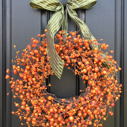 Fall Wreath The Pumpkin Wreath for Autumn Decor by Two Inspire You - The grapevine and berries, plus the great ribbon, make this wreath a favorite!