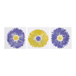 Cotton Tale Designs - Periwinkle Wall Art - Set of 3 - A quality baby bedding set is essential in making your nursery warm and inviting. All Cotton Tale patterns are made using the finest quality materials and are uniquely designed to create an elegant and sophisticated nursery. Periwinkle's purple and green floral wall art comes in 3 pieces each measuring 12 x 12. It is hand painted on 1/2 inch foam board on white canvas and hangs with its ribbon ties or can be framed. This art is original and can be used beyond the nursery. It is a perfect finish for a baby girls nursery. Can be used together or separately. Dust clean only. 100% made in the USA.