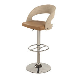 "Chintaly Imports - Taupe Curved Round Back Pneumatic Stool - Modern pneumatic gas lift adjustable height swivel stool, Middle back round bentwood design , Plywood back covered by beige pe rattan, Seat height adjusts easily from 24.02"" to 32.68"", Cushion Upholstered in durable Khaki PU, Footrest for extra comfort, CA fire retardant foam"