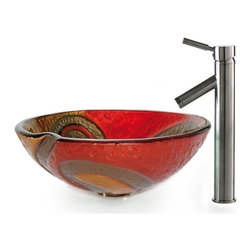 Kraus - Copper Snake Glass Vessel Sink and Sheven Faucet (Satin Nickel) - Finish: Satin Nickel
