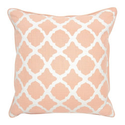 Villa Home - Pair of Claire Blush Pillows by Villa Home - An ivory trellis design graces the front of blush cotton slub pillows. Mix them with other pillows to create your own comfortable haven. (VH)