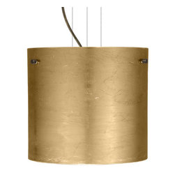 Besa Lighting - Besa Lighting 1KG-4184GF-LED Tamburo 1 Light LED Cable-Hung Pendant - Tamburo is a classic open-ended cylinder of handcrafted glass, a shape that will stand the test of time. Our Gold Foil glass is sparkling and metallic. Distressed metal foil is applied to the inner surface of a glossy clear blown glass. This decor is full of textured and depth, however the outer surface of the glass is smooth. When lit the glass comes to life, as the distressed foil allows glimpses of light to pass through. This blown glass is handcrafted by a skilled artisan, utilizing century-old techniques passed down from generation to generation. Each piece of this decor has its own artistic nature that can be individually appreciated. The cable pendant fixture is equipped with three (3) 10' silver aircraft cables and 10' AWM cordset, and a low profile flat monopoint canopy.Features:
