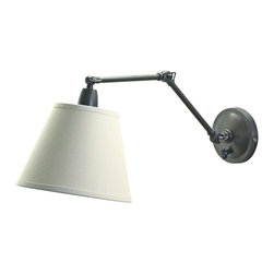 "Lamps Plus - Industrial Delcourt Plug-In Swing Arm Wall Lamp - Just plug this Delcourt swing arm wall lamp in to any outlet with its 10' cord. No need to hardwire. The cord has a matching 30"" cord cover. The oil rubbed bronze finish is classic especially when paired with the off-white linen hardback shade. The arm is flexible at three different points for incredible lighting control. Extends to 16 1/2"" for your reading and personal needs. Full range dimmer on back. Takes one 100 watt bulb (not included). Lamp height is 11"". Linen shade is 5"" across top 9"" across bottom 7"" on slant.  Oli rubbed bronze finish.  Off white linen hardback shade.  Swing arm three adjustable parts of arm and head.  30"" matching cord cover with 10' ivory cord.  Full range dimmer on back.   Takes one 100 watt bulb (not included).  Lamp height is 11"".   16"" extension.  Linen shade is 5"" across top 9"" across bottom 7"" on slant."